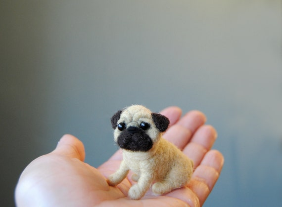 Miniature Pug Puppy Little Dollhouse Puppy Needle Felted Etsy