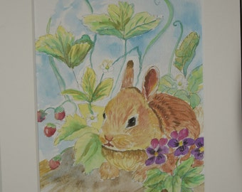 cheerful art for your home gift idea for animal lovers ACEO ATC Davey Bunny in garden animal art