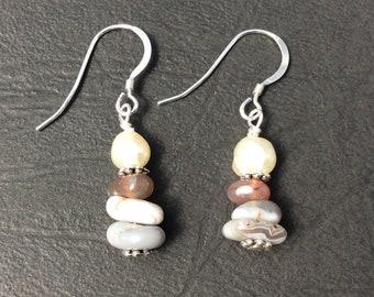 Botswana agate and freshwater pearl sterling silver earrings