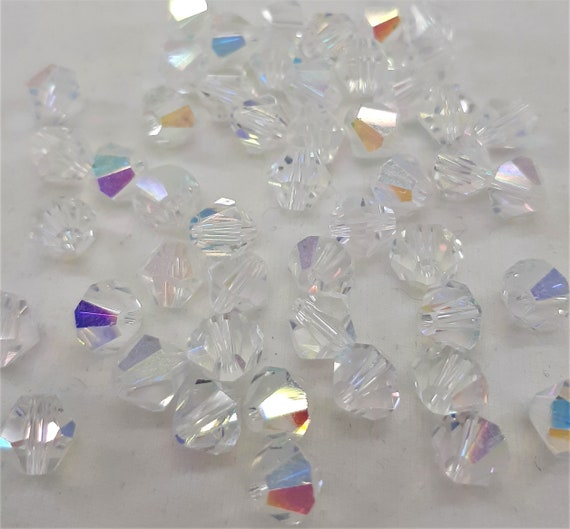 PACKS 4MM 6MM or 8MM QUALITY CLEAR OR AB GLASS CRYSTAL BICONES BEADS