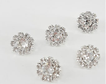 PK of 5 Small Round Clear  Rhinestone Crystal Buttons with Shank Back