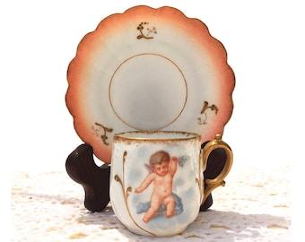 Antique Limoges Demitasse Cup and Saucer / Bawo & Dotter 1896 - 1900 / Art Nouveau / Cherub / Peach and Gold