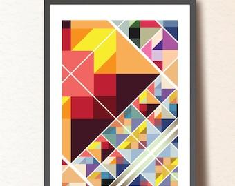 Geometric print. Geometric art. Poster print. Abstract wall art. A3. Mid Century Modern poster
