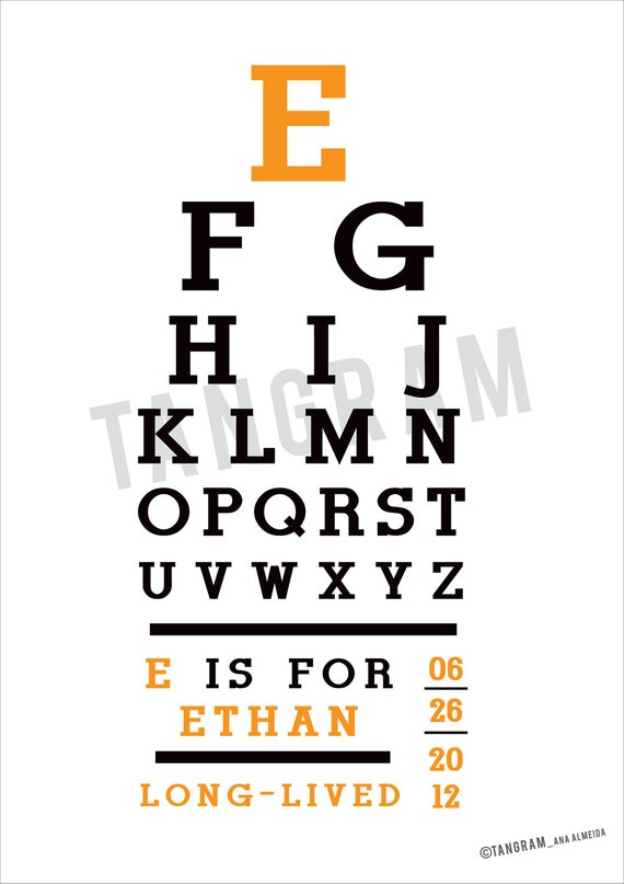 Baby Poster Eye Chart Birth Poster Children Personalized Etsy