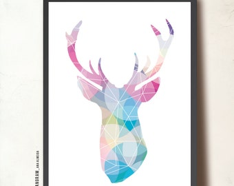 Reindeer Geometric Art. Affiche scandinave A3. Rudolph head silhouette pastel colors. Mother's day gift. Antlers print by Tangramartworks