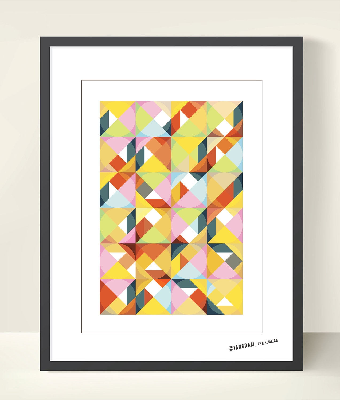 Mid century modern poster art print. Geometric Art. A3 Poster | Etsy
