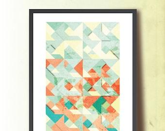 Spring Tangram, Geometric Print, Abstract A3 Poster Print. Geometric Wall Art. Home & Office Decor. TangramArtworks Geometric print.