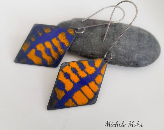 Abstract Vitreous Enamel Earrings with Oxidzed Sterling Silver Ear Wires - 2 sided design