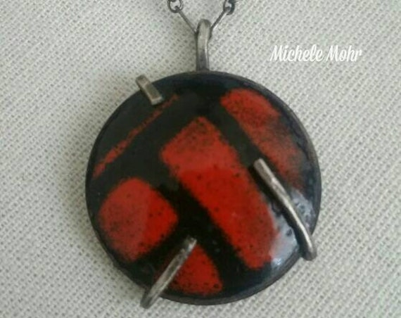 Fiery Orange and Black Abstract Enamel Pendant/Necklace