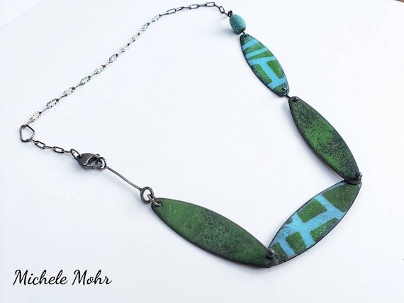 """Kind of Blue and Green Vitreous Enamel and Oxidized Sterling Silver 19"""" Necklace"""