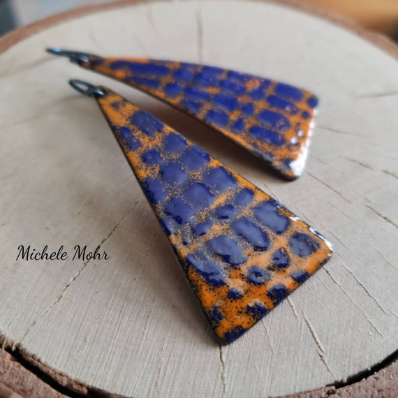 Psychedelic Peacock Blue and Orange Enamel Earrings with Niobium Ear Wires