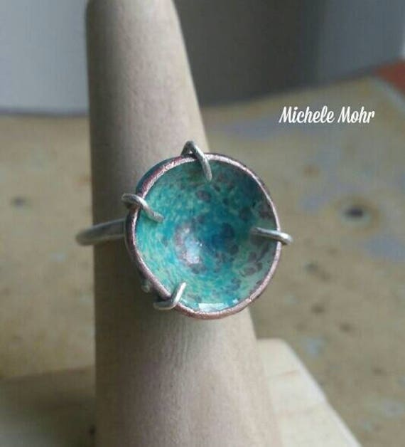 Adjustable Sea Foam Vitreous Enamel Copper and Sterling Silver Ring