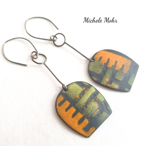 Abstract Vitreous Enamel and Sterling Silver Earrings