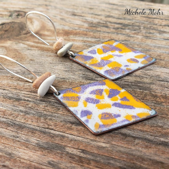 Grafitti Vitreous Enamel, Polynesian Pebble, and Sterling Silver Earrings - Designs on both sides