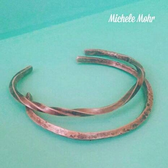 Wavy and Hammered Copper Cuff Bracelet Set