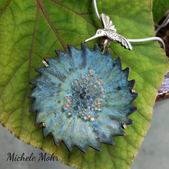 "Blue Paradise Vitreous Enamel Flower and Hummingbird Pendant Adjustable 20"" Chain/Necklace"