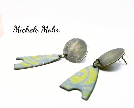 Modern Art Asymmetrical Vitreous Enamel and Sterling Silver Post Earrings