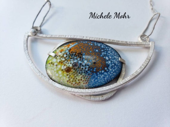 SALE - Lunar Eclipse Vitreous Enamel and Sterling Silver Statement Necklace