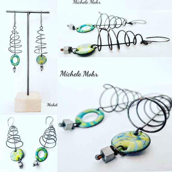 Spiraling Out of Control Asymmetrical Vitreous Enamel and Sterling Silver Spiral Earrings