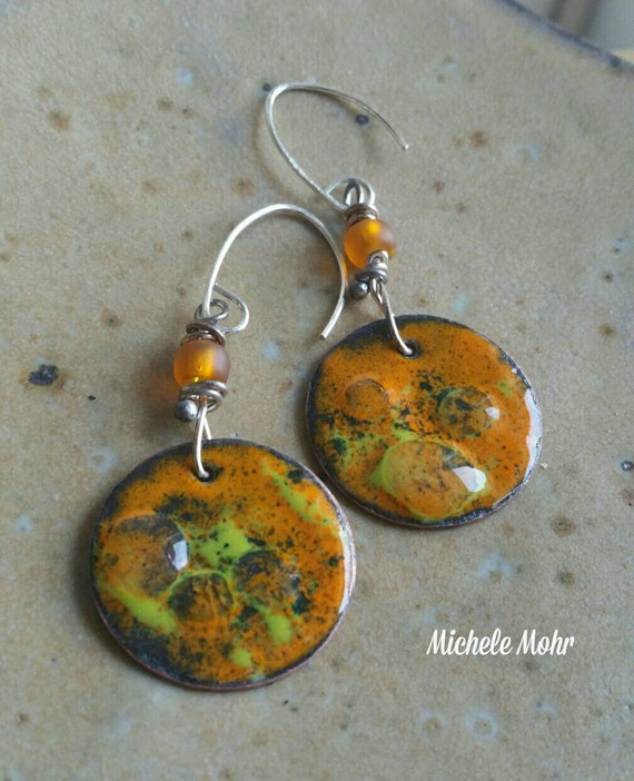 Burnt Sunset Vitreous enamel copper and sterling silver earrings
