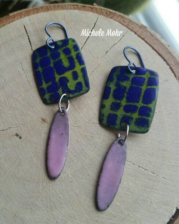 SALE - Funky Enamel Copper Dangle Earrings