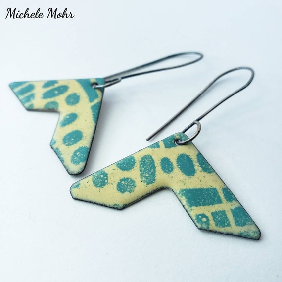 Mellow Yellow and Spruce Green Vitreous Enamel and Oxidized Sterling Silver Earrings