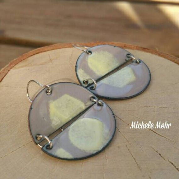 Dove Gray and Cream Kiln Fired Vitreous Enamel Earrings