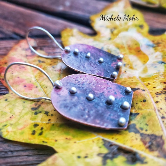 Hammered Copper and Fine Silver Earrings with Fire Patina