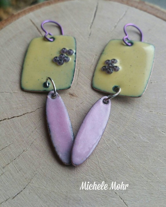Spring Bloom enamel copper earrings with niobium ear wires. Yellow, pink and fuchsia