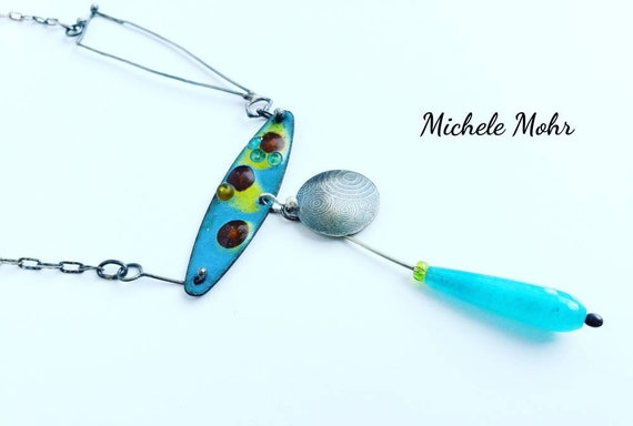 Endless Summer at the Beach Vitreous Enamel and Sterling Silver Adjustable Necklace with Aqua Dyed Jade.
