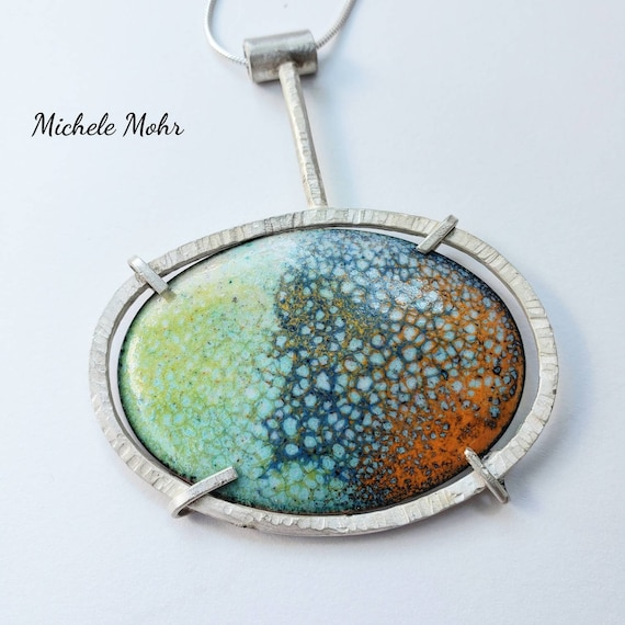 Contemporary Vitreous Enamel Copper and Sterling Silver Statement  Pendant Adjustable Necklace