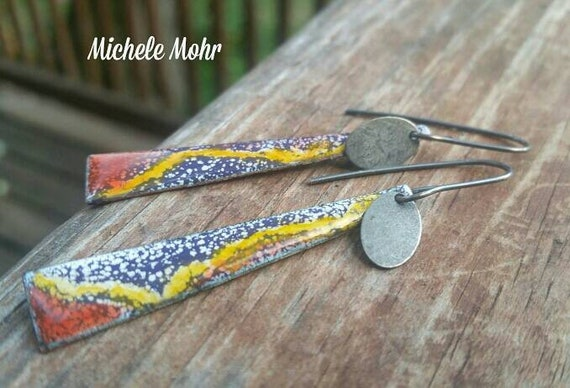 Nature's Colors Enamel copper and sterling silver earrings.