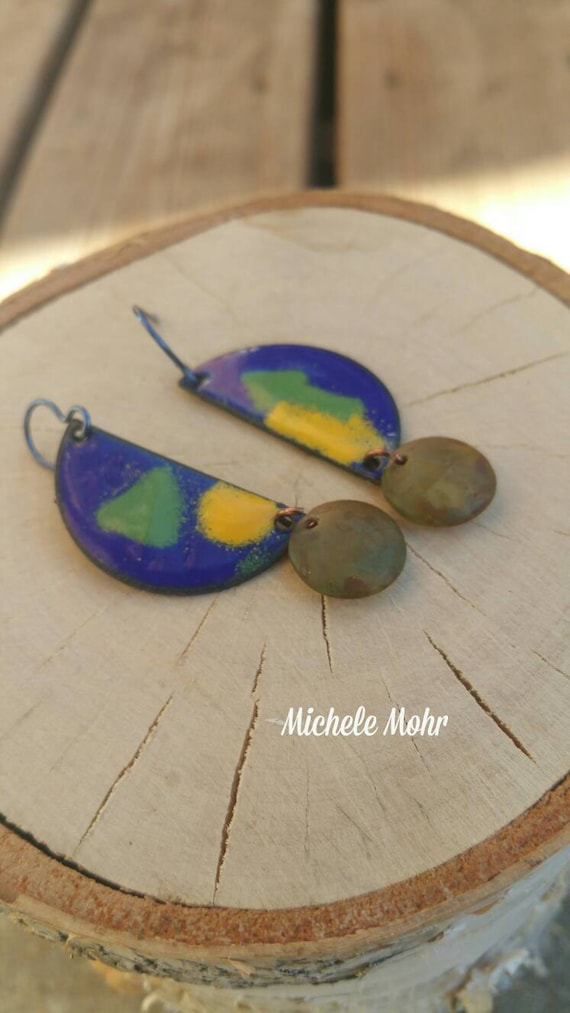 Geometric Half Moon Kiln Fired Vitreous Enamel Earrings with Czech Glass Beads and Niobium Ear Wires