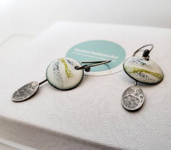 Scenic Landscape Vitreous Enamel and Sterling Silver Earrings