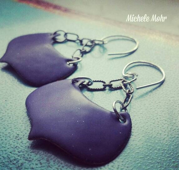 Grape Purple Kiln Fired Vitreous Enamel Earrings with Sterling Silver Links and Ear Wires