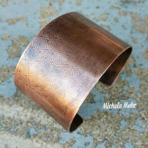 "Bullseye Textured 2"" Wide Copper Cuff"