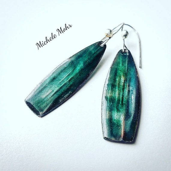 Emerald Sea Vitreous Enamel and Fine Silver Earrings