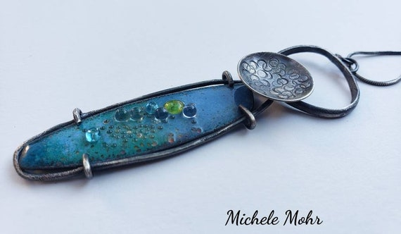 SALE - Ocean Blue Vitreous Enamel and Sterling Silver Adjustable Necklace