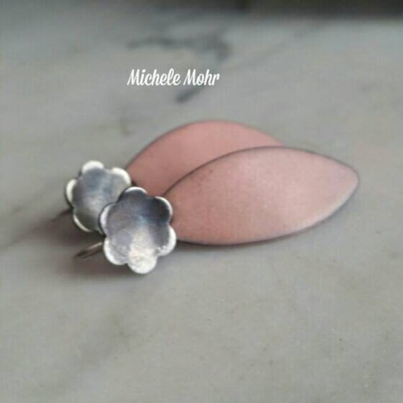 Pale Pink Enamel Leaf and Sterling Silver Flower Earrings