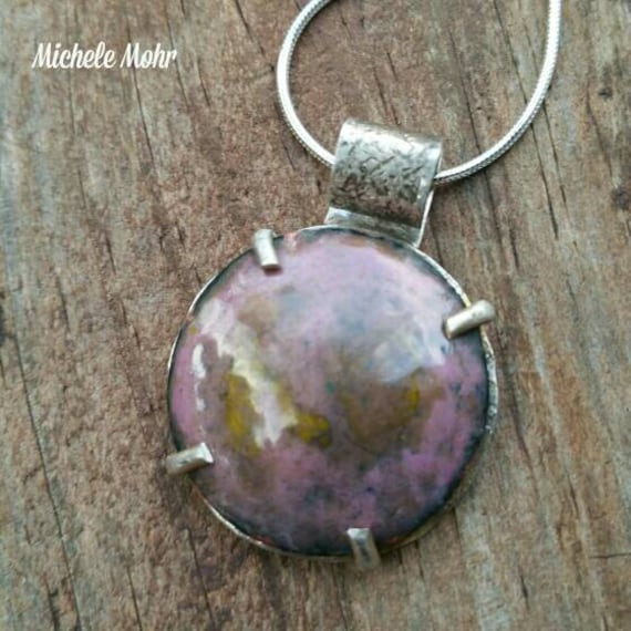"Earth and Sky Vitreous Enameled Copper and Sterling  Silver 1"" Pendant Sterling Silver 20"" Necklace"