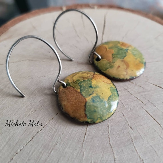 Hand Painted Enamel and Sterling Silver Disc Earrings