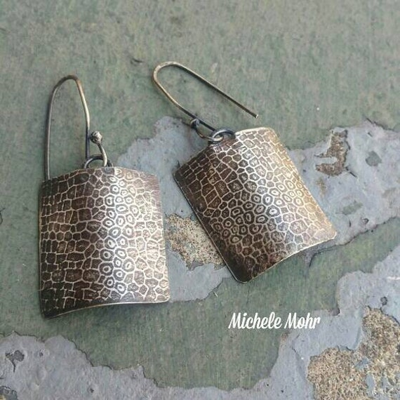 Cellular Oxized Sterling Silver Shield Earrings