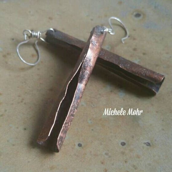Hand forged and hammered copper and sterling silver earrings