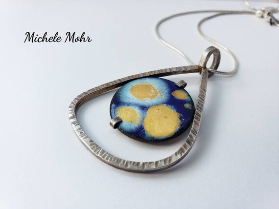 """SALE - Moonglow Vitreous Enamel and Sterling Silver Pendant Adjustable 20"""" Snake Chain Necklace"""