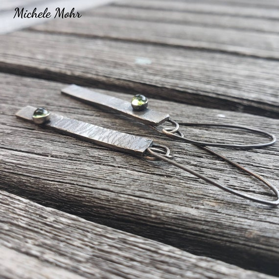 Oxidized Sterling Silver Peridot Stick Earrings