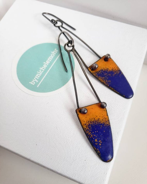Flying Trapeze Vitreous Enamel and Oxidized Sterling Silver Earrings