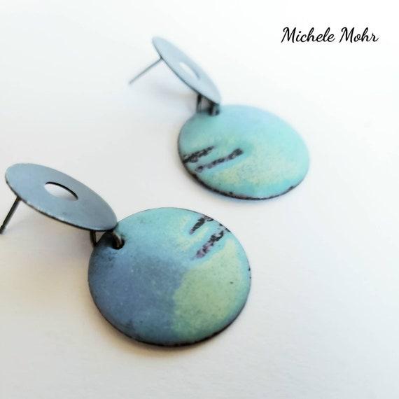Ocean Breeze Vitreous Enamel and Oxidized Sterling Silver Stud Post Earrings