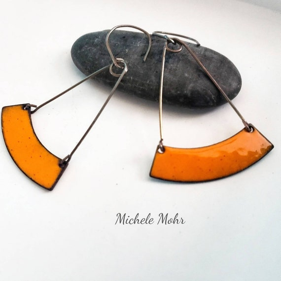 Sunset Orange Trapeze Enamel and Sterling Silver Earrings