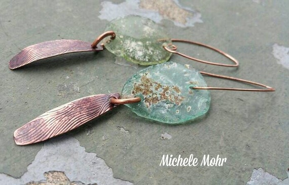 "Handcrafted Organic Textured Copper Pod and Sea Glass Bohemian Earrings - Long Dangles 3.5"" including earwire"