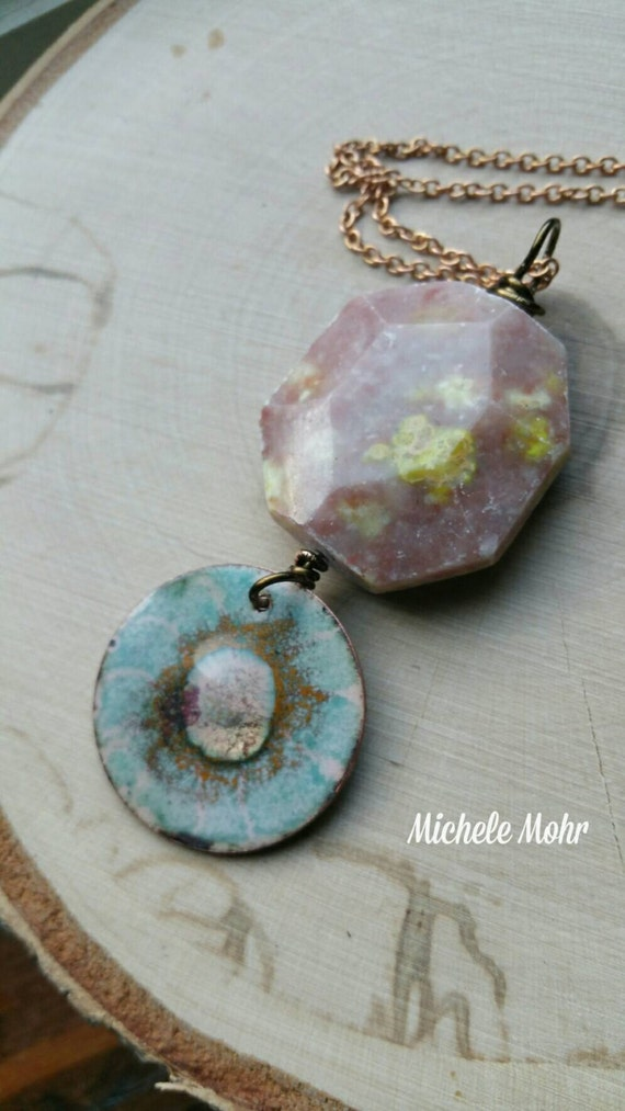 "Earth Sun and Sky Vitreous Enamel Copper and Stone Pendant on Raw Brass 24"" Necklace"